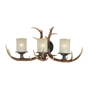 Yoho Black Walnut Three-Light Wall Sconce with Creme Cognac Glass