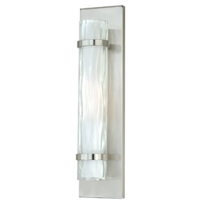 Vilo Satin Nickel 18.5-Inch High One-Light Wall Sconce with Outer Water Glass
