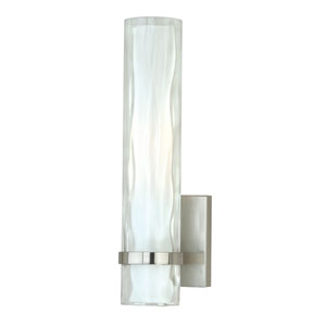 Vilo Satin Nickel 13.5-Inch High One-Light Wall Sconce with Outer Water Glass