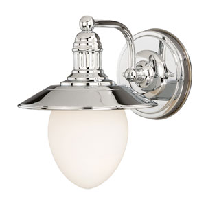 Marina Bay Polished Nickel One-Light Vanity Light with Frosted Opal Glass