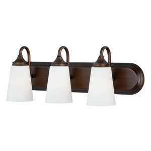 Lorimer Venetian Bronze Three-Light Vanity Fixture with Frosted Opal Glass