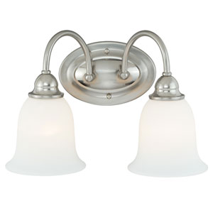 Concord Satin Nickel Two-Light Vanity Light with Etched White Glass