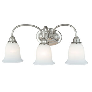 Concord Satin Nickel Three-Light Vanity Light with Etched White Glass
