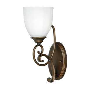 Claret Venetian Bronze One-Light Vanity Light with Etched White Glass