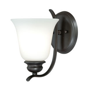 Darby New Bronze One-Light Vanity Fixture with Etched White Glass