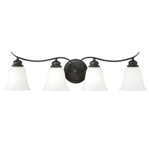 Darby New Bronze Four-Light Vanity Light with Etched White Glass
