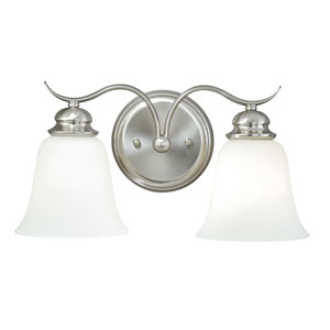 Darby Satin Nickel Two-Light Vanity Light with Etched White Glass