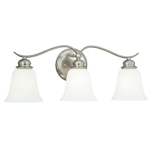 Darby Satin Nickel Three-Light Vanity Light with Etched White Glass