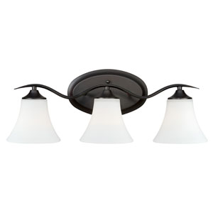 Cordoba Noble Bronze Three-Light Vanity Light with Etched White Glass