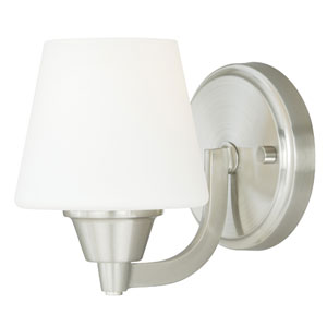 Calais Satin Nickel One-Light Vanity Fixture with Frosted Opal Glass