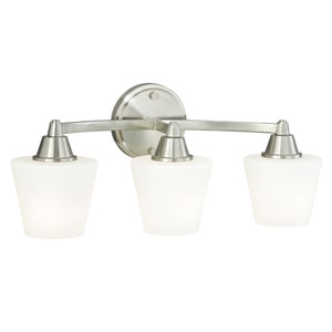 Calais Satin Nickel Energy Star Three-Light Vanity Light with Frosted Opal Glass