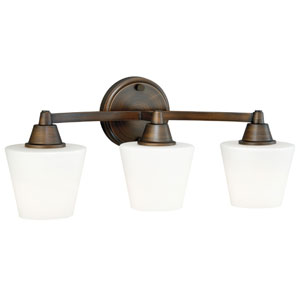 Calais Venetian Bronze Energy Star Three-Light Vanity Light with Frosted Opal Glass