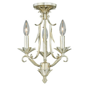 Austen Silver Leaf Tri-Mount Ceiling Light