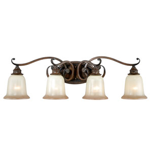Parkhurst Aged Walnut Four-Light Vanity Fixture