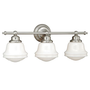 Huntley Satin Nickel Three-Light Vanity Fixture