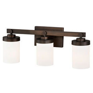 Sorin Architectural Bronze Three-Light Bath Fixture