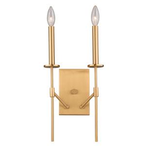 Kedzie Natural Brass 10-Inch Two-Light Wall Light