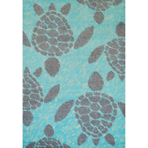 Sea Turtle Blue Rectangular: 2 Ft. 7 In. x 3 Ft. 1 In. Rug