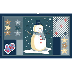 Winter Holiday Blue Patchwork Snowman Rectangular: 1 Ft 8 In x 2 Ft 8 In Rug