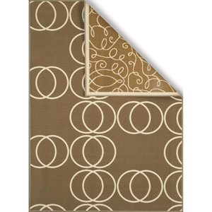 Encore Scrolling Circles Beige Rectangular: 1 Ft. 8 In. x 2 Ft. 8 In. Reversible Rug
