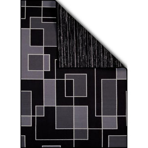 Encore Blocked Out Hombre Black Rectangular: 1 Ft. 8 In. x 2 Ft. 8 In. Reversible Rug