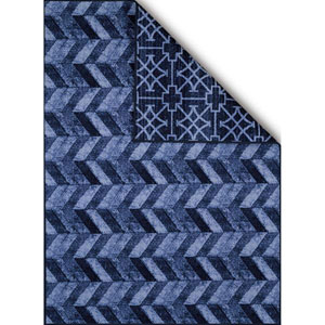 Encore Cubic Wave Blue Rectangular: 1 Ft. 8 In. x 2 Ft. 8 In. Reversible Rug