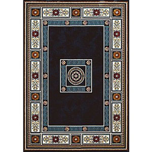 Antiquities Oriental Border Navy Rectangular: 7 Ft. 10 In. x 10 Ft. 6 In. Rug