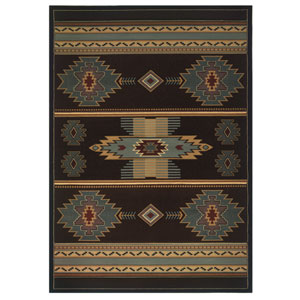 Designer Contours Native Canvas Smoke Blue Rectangular: 7 Ft 10 In x 10 Ft 6 In Rug