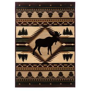 Designer Contours Moose Wilderness Multicolor Rectangular: 1 Ft 10 In x 3 Ft Rug