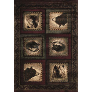 Designer Contours Bears and Wolf Burgundy Rectangular: 5 Ft 3 In x 7 Ft 6 In Rug