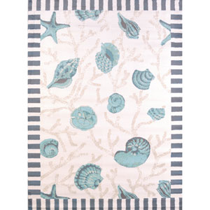Regional Concepts Shells Blue Rectangular: 2 Ft 7 In x 3 Ft 11 In Rug