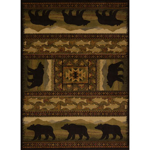 Affinity Black Bears Multicolor Rectangular: 7 Ft 10 In x 10 Ft 6 In Rug