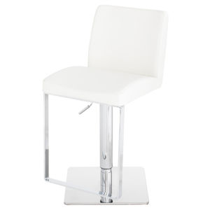 Matteo White and Silver Adjustable Stool