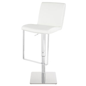 Lewis White and Silver Adjustable Stool