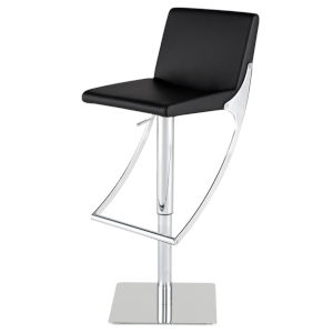 Swing Black and Silver Adjustable Stool
