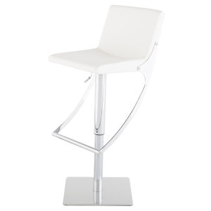 Swing White and Silver Adjustable Stool