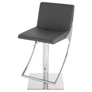 Swing Matte Gray and Silver Adjustable Stool