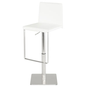 Kailee White and Silver Adjustable Stool