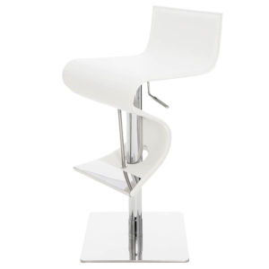 Portland White and Silver Adjustable Stool