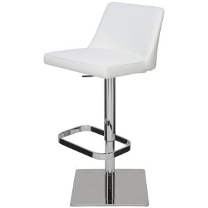 Rome White and Silver Adjustable Stool