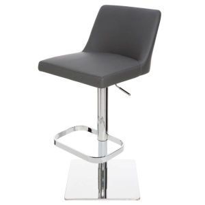 Rome Matte Black and Silver Adjustable Stool