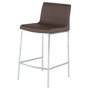Colter Dark Brown and Silver Counter Stool
