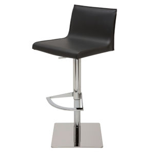 Colter Matte Black and Silver Adjustable Stool