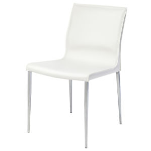Colter Matte White and Silver Dining Chair