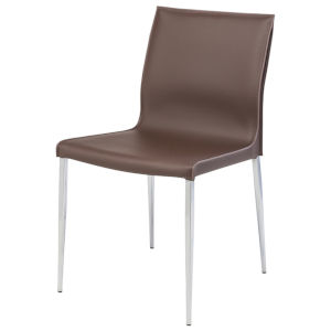 Colter Dark Brown and Silver Dining Chair