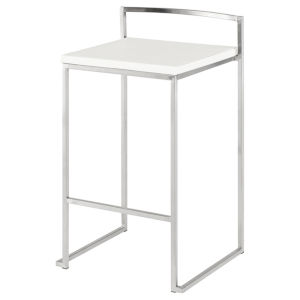 Genoa White and SIlver Counter Stool