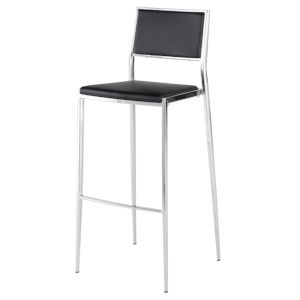 Aaron Black and Silver Bar Stool