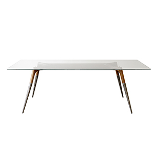 Black 87-Inch Dining Table with Tempered Glass