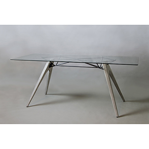 Kahn Black Dining Table with Tempered Glass