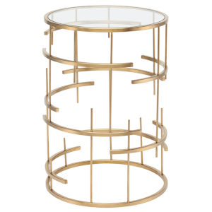 Tiffany Brushed Gold Side Table